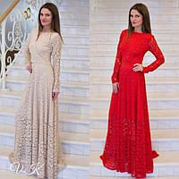 Вечернее платье в пол из дорогого гипюра (красное, беж, марсала, синее)