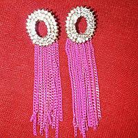 Серьги цепочки розовые