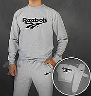 Спортивный костюм Reebok серого цвета с черным логотипом на груди, фото 1
