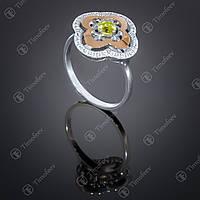 Серебряное кольцо с хризолитом и фианитами. Артикул П-408