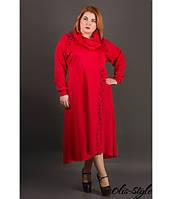 Батальное женское красное платье Клеш ТМ Olis-Style 54-60 размеры
