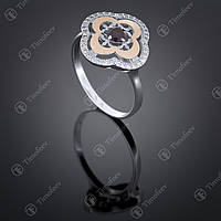 Серебряное кольцо с гранатом и фианитами. Артикул П-408