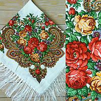 Женский белый платок с цветами, 80% шерсть, 90х90см, фото 1