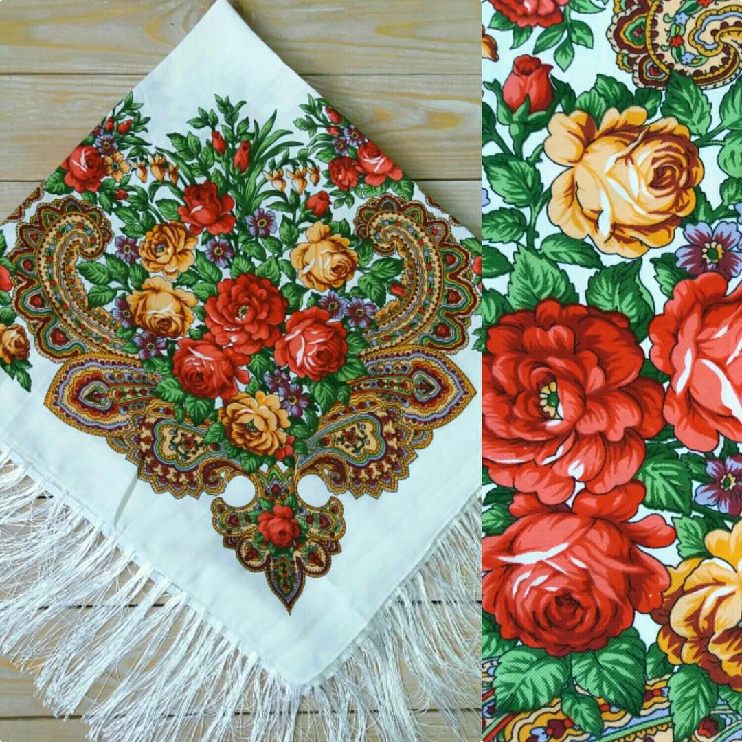 Женский белый платок с цветами, 80% шерсть, 90х90см