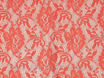 Стрейч-гипюр CHRISANNE (Англия) лососево-персиковый (flower sunglow)