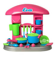 Стол-Детская игрушечная кухня Ева (сковорода+кастрюля+, ) в коробке