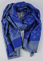 Кашемировый палантин Louis Vuitton 8881-7 серо-синий двусторонний
