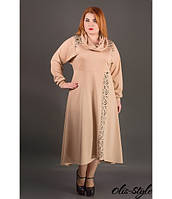 Батальное женское бежевое платье Клеш ТМ Olis-Style 54-60 размеры