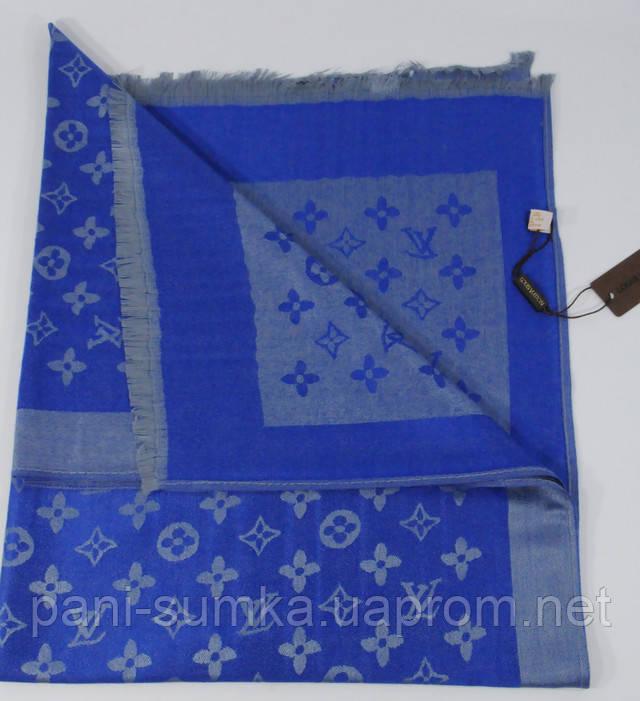 Кашемировый палантин Louis Vuitton 8881-7 серо-синий двусторонний ... 268b3c0b531