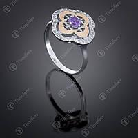Серебряное кольцо с аметистом и фианитами. Артикул П-408