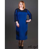 Трикотажное женское платье большого размера Грация электрик ТМ Olis-Style 54-60 размеры