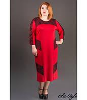 Трикотажное женское красное платье большого размера Грация ТМ Olis-Style 54-60 размеры