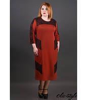 Трикотажное женское кирпичное платье большого размера Грация ТМ Olis-Style 54-60 размеры
