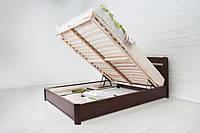 Двуспальная кровать с подъемным механизмом Нова Олимп из натурального дерева бука и шпонированного МДФ