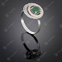 Серебряное кольцо с агатом и фианитами. Артикул П-409