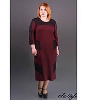 Трикотажное женское бордовое платье большого размера Грация ТМ Olis-Style 54-60 размеры