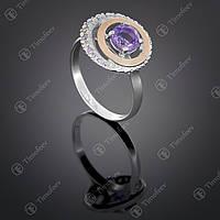Серебряное кольцо с аметистом и фианитами. Артикул П-409