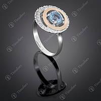 Серебряное кольцо с топазом и фианитами. Артикул П-409
