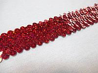 Тасьма еластик з паєтками червона з галогеном 2,5  см.