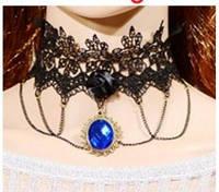 Широкий кружевной чокер ожерелье готика колье черный с цепочками