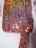 Тасьма еластик з паєтками золотисто-рожева з галогеном 2,5  см.