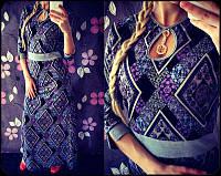 Женское длинное платье с украшением 88134