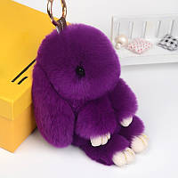 Брелок зайка на сумку, натуральный мех. Фиолетовый