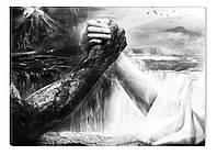 Светящиеся картина Startonight Борьба Черно Белые Печать на Холсте Декор стен Дизайн дома Интерьер