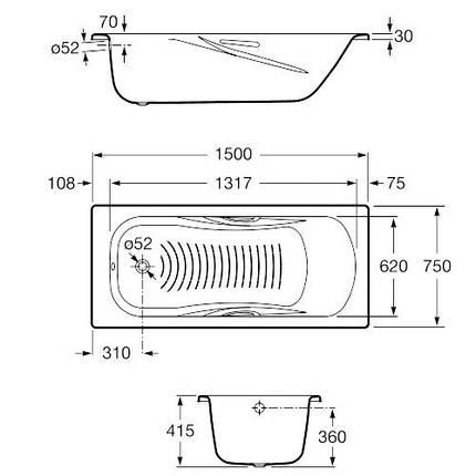 Ванна стальная ROCA PRINCESSA 150Х75 с ручками  , фото 2