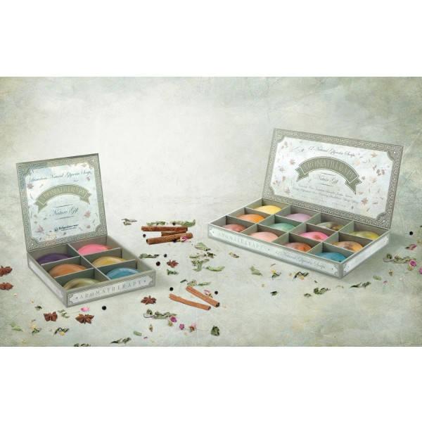 Серия состоит из двух наборов по 12 и 6 натуральных глицериновых мыл с 100% натуральными эфирными маслами.
