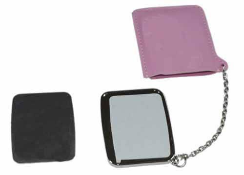 Зеркальце прямоугольное в розовом чехле