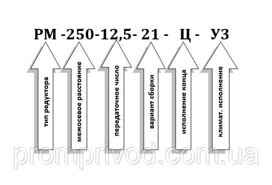 Условное обозначение редуктора РМ-250