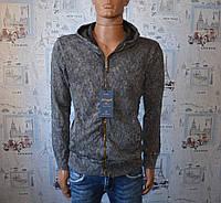 Кофта мужская на замке серый Турция 5043