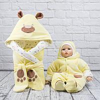 """Весенний набор для выписки из роддома  """"Панда-лапки"""" желтый, фото 1"""