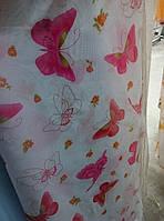 """Гардина вуаль принт """"Бабочка розовая""""  в. 2.80 м"""