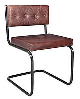Кресло leather sofa SIF-1864. Металл и кожа. Стул в стиле Лофт. Ручная работа. Ganesha Design.