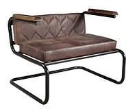 Кресло leather sofa SIF-1866. Металл и кожа. Стул в стиле Лофт. Ручная работа. Ganesha Design.