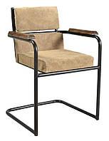 Кресло leather sofa SIF-1869. Металл и кожа. Стул в стиле Лофт. Ручная работа. Ganesha Design.