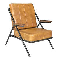 Кресло leather sofa SIF-1870. Металл и кожа. Стул в стиле Лофт. Ручная работа. Ganesha Design.