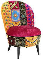 Кресло sofa SIF-1591. Дерево манго и бархат с ручной вышивкой. Кресло в стиле Пэчворк. Ручная работа. Ganesha