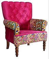 Кресло sofa SIF-1628. Дерево манго и бархат с ручной вышивкой. Кресло в стиле Пэчворк. Ручная работа. Ganesha