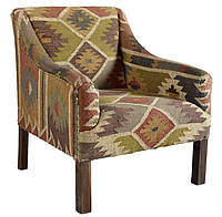 Кресло sofa SIF-1807. Дерево манго и джутовая ткань с ручной вышивкой. Кресло в Марокканском стиле. Ручная раб
