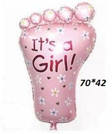 """Фольгированный воздушный шарик Пяточка малыша розовая 70 х 42 см, """"It`s a girl"""""""