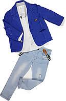 Нарядный костюм для мальчика (пиджак, рубашка, джинсы) ТМ Bombili размер 92 104 110