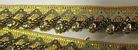 Тасьма з кораликами, темне золота 1,2  см.