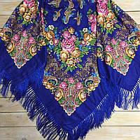 Роскошный платок для женщин синего цвета, 80% шерсть