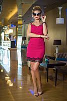 Платье с тонким кружевом сочетает в себе изысканность и нежност ,ткань креп и кружево ,3  цвета  бис№ 7654