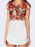 """Женская стильная 3D-туника """"Цветы винтаж"""" белого цвета с красочным рисунком."""