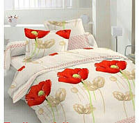 Качественное постельное белье  Маки на бежевом фоне полуторное