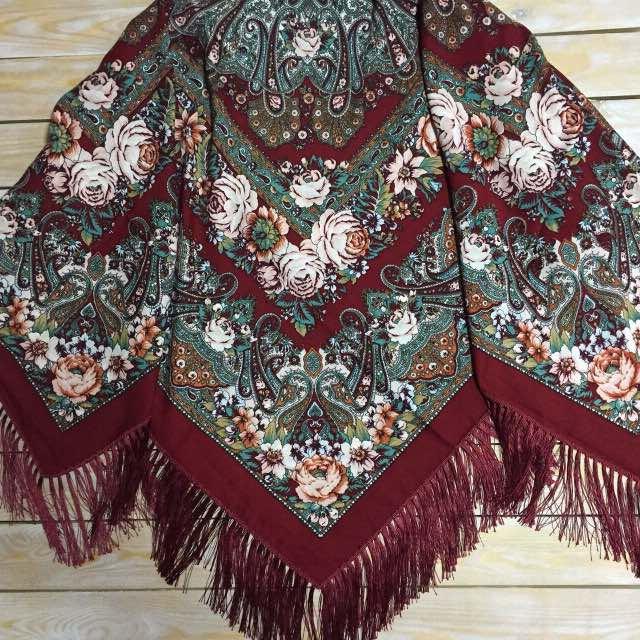 Вишукана українська хустина кольору марсала , 80% шерсть